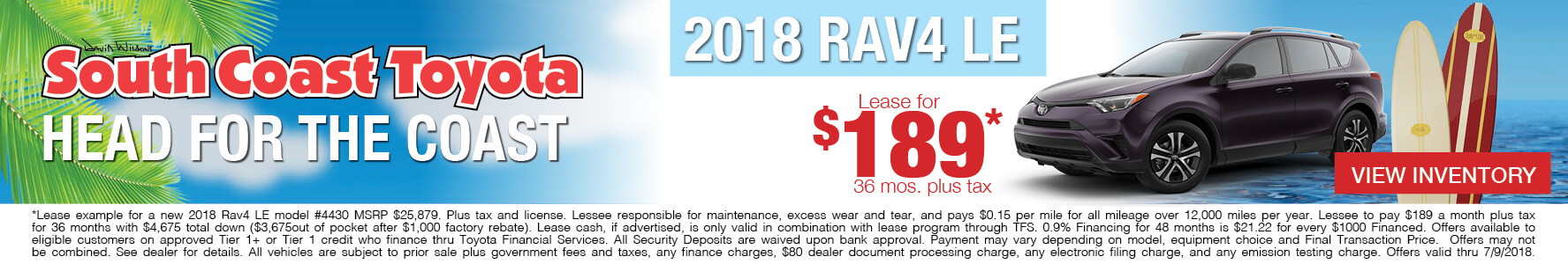 Toyota RAV4 $189 Lease