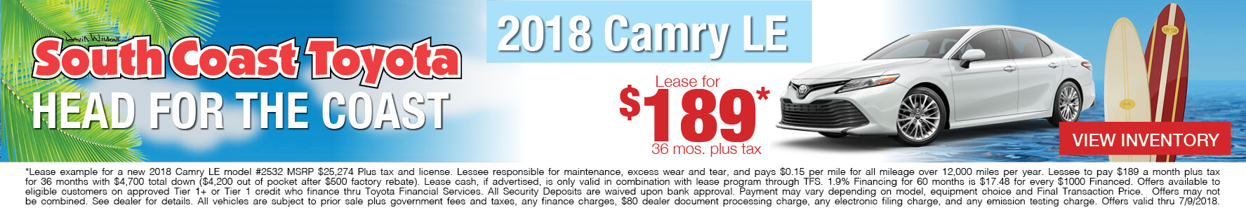 Toyota Camry $189 Lease