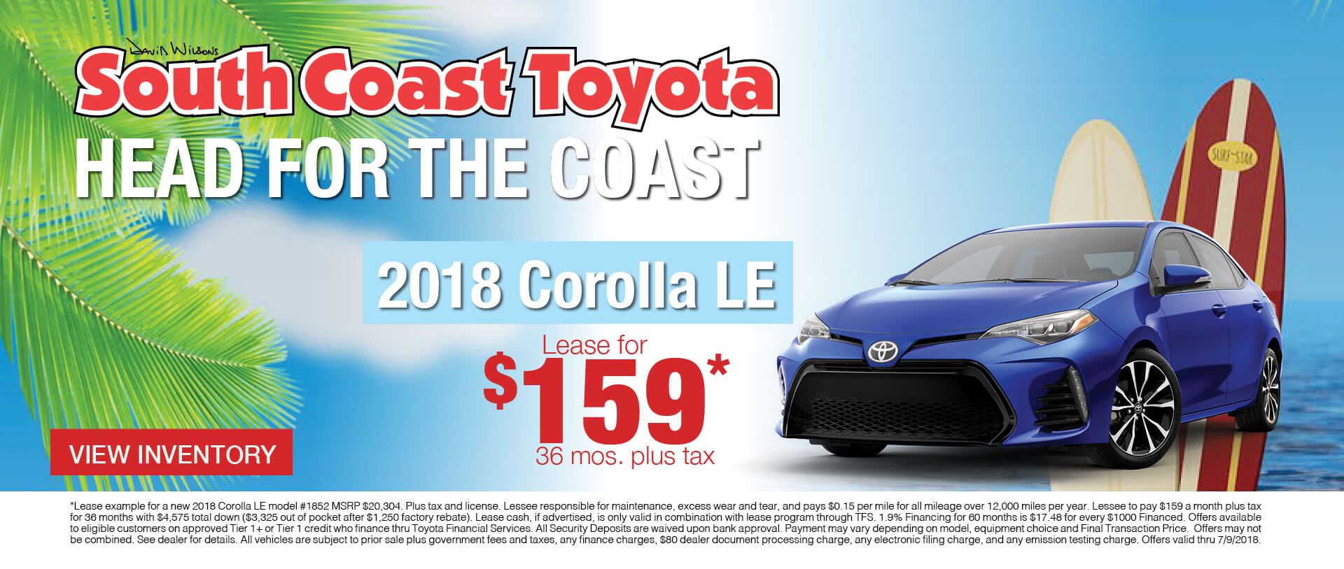 Memorial Day Toyota Corolla $159 Lease