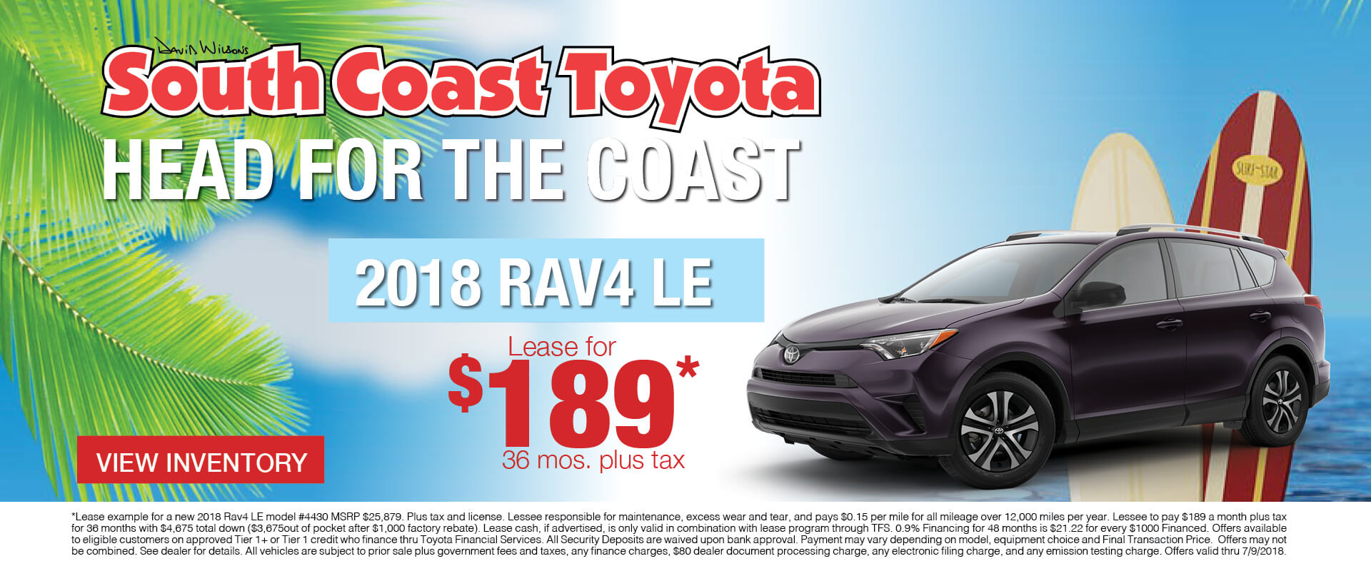 Memorial Day Toyota RAV4 $189 Lease