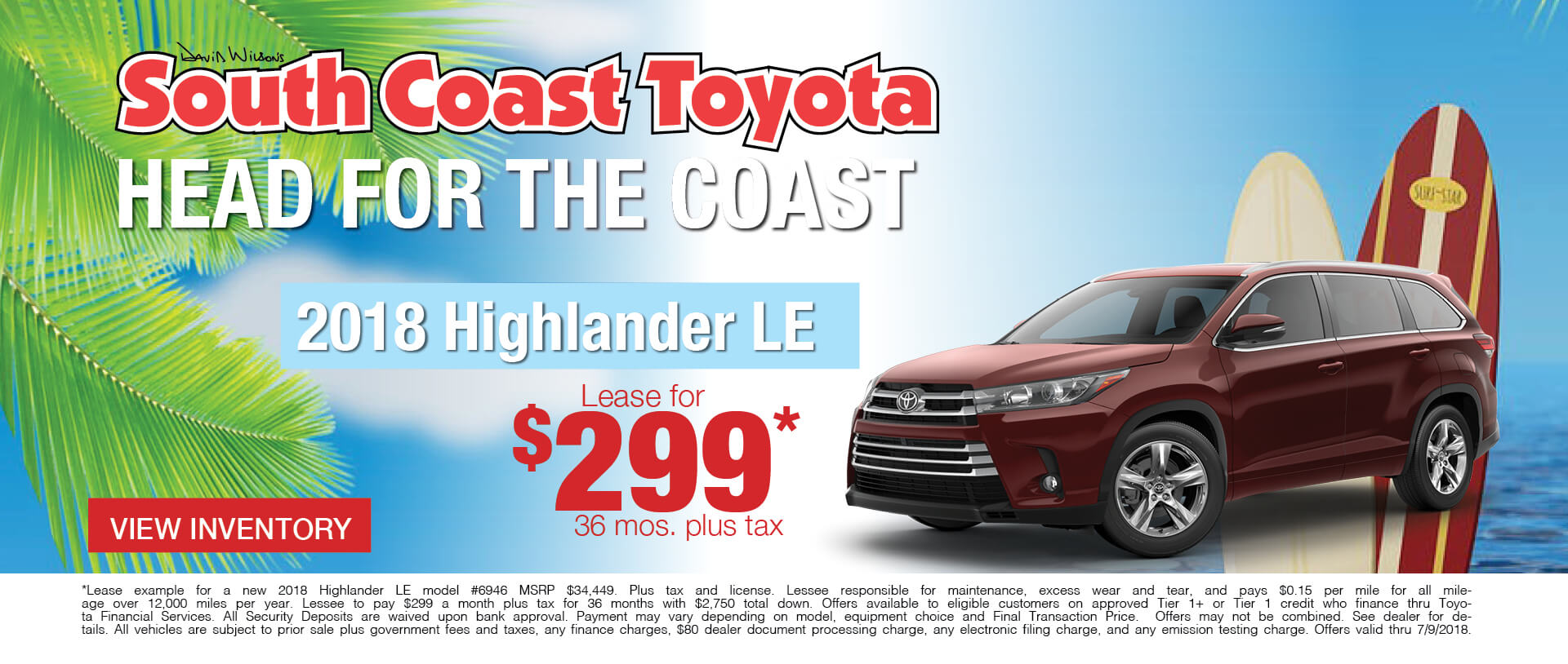 Memorial Day Toyota Highlander $299 Lease