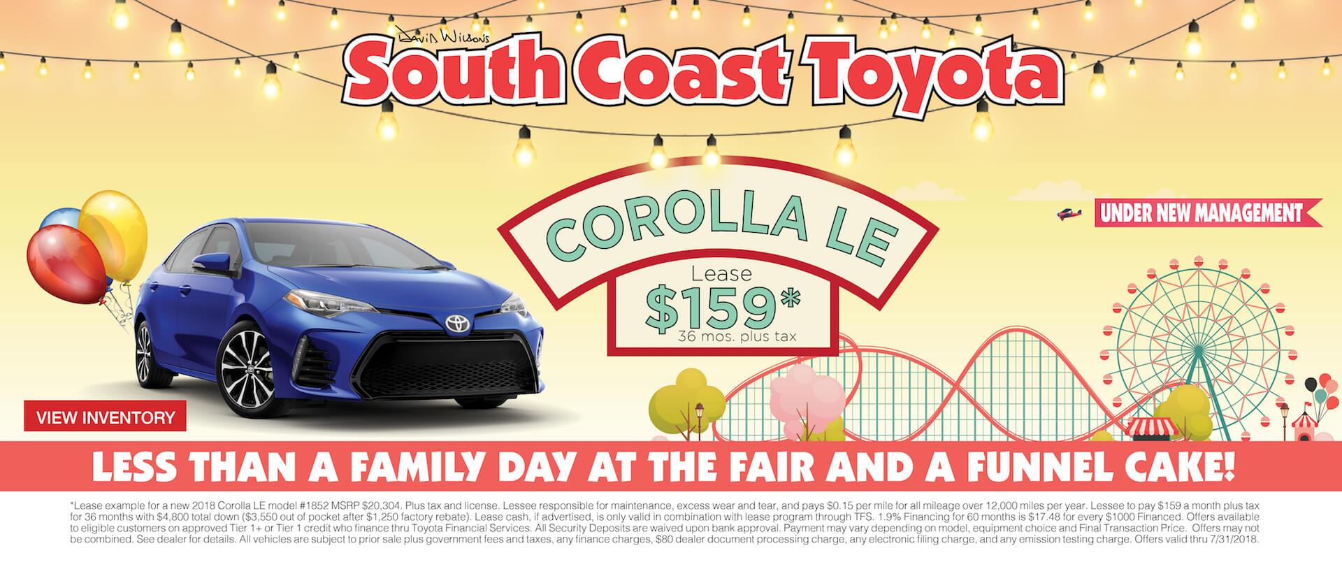 Memorial Day Toyota Corolla $159 Lease