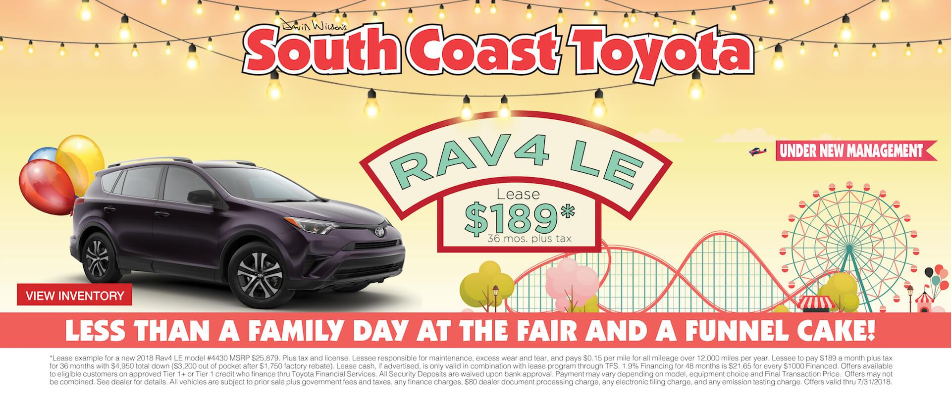 Memorial Day Toyota RAV4 $189 Lease