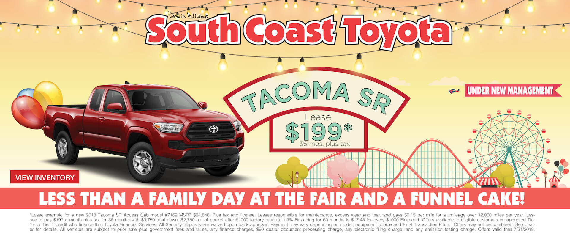 Memorial Day Toyota Tacoma $199 Lease