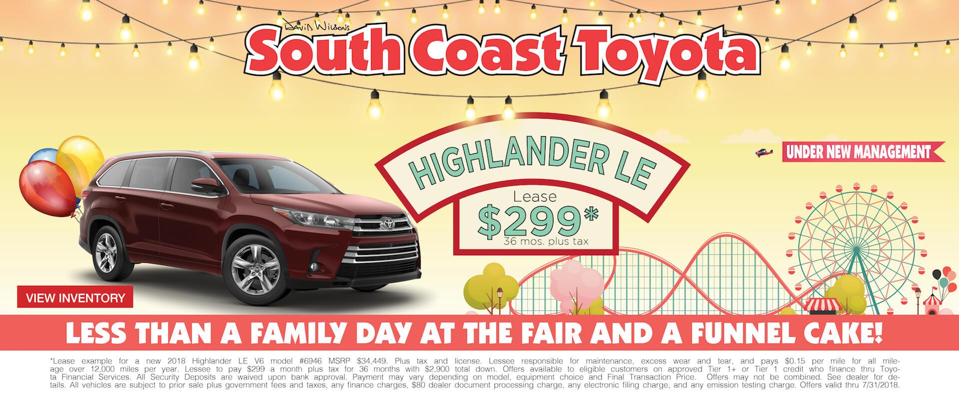 Memorial Day Toyota Highlander $299 Lease