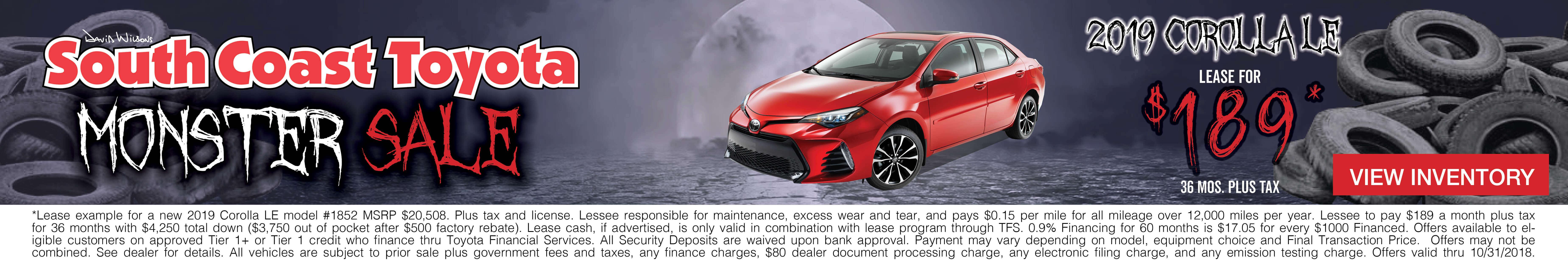 Toyota Corolla $189 Lease