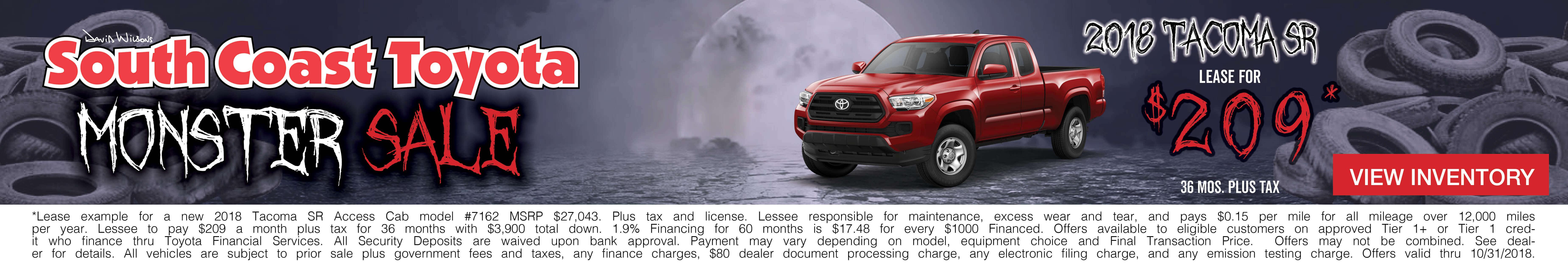Toyota Tacoma $209 Lease