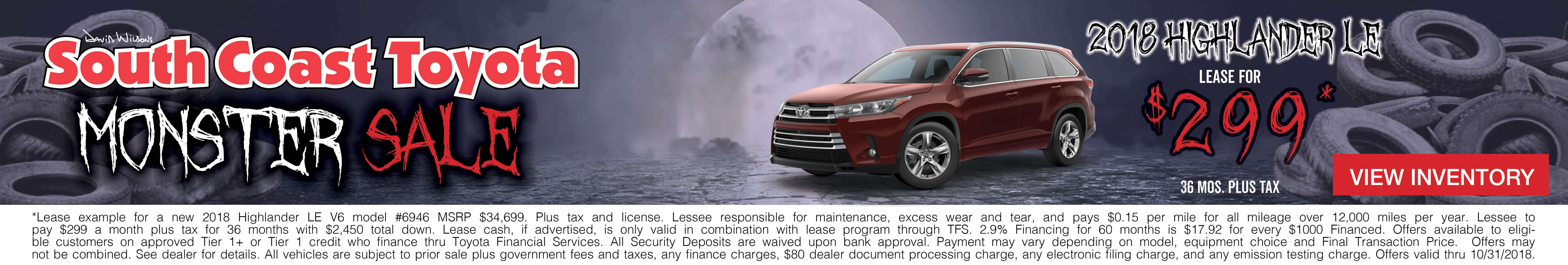 Toyota Highlander $299 Lease