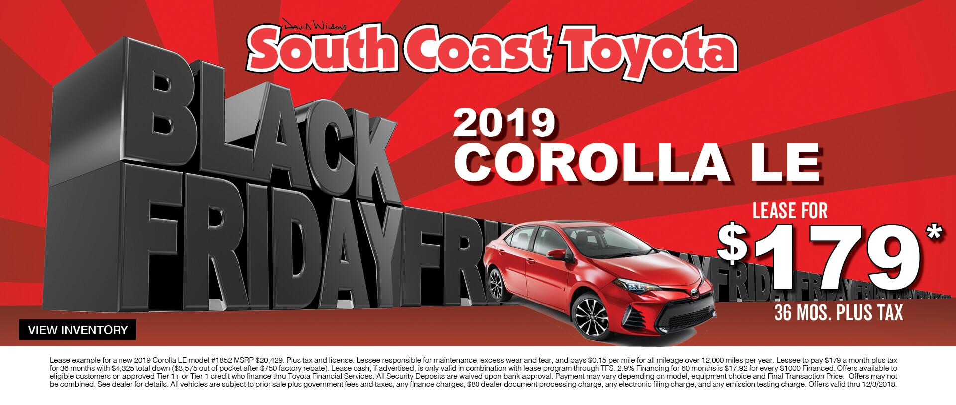 Toyota Corolla $179 Lease