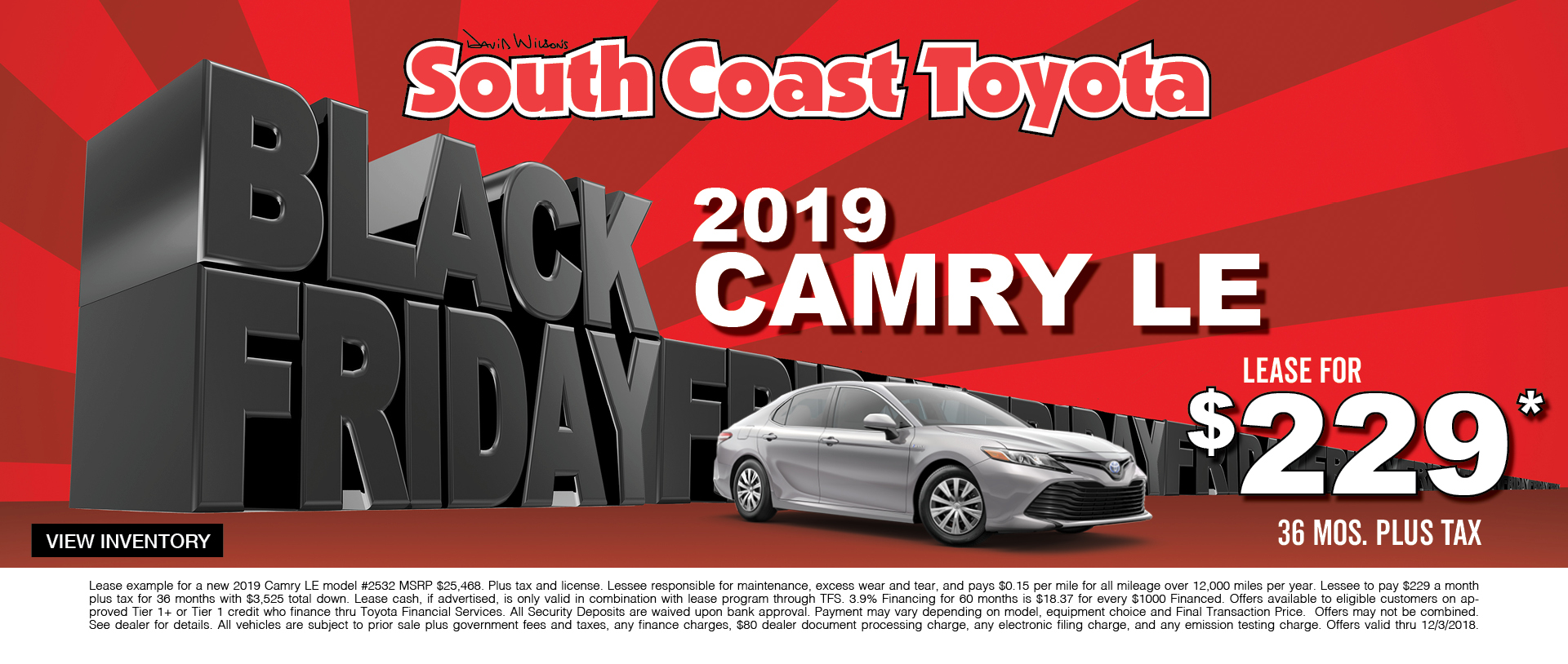 Toyota Camry $229 Lease