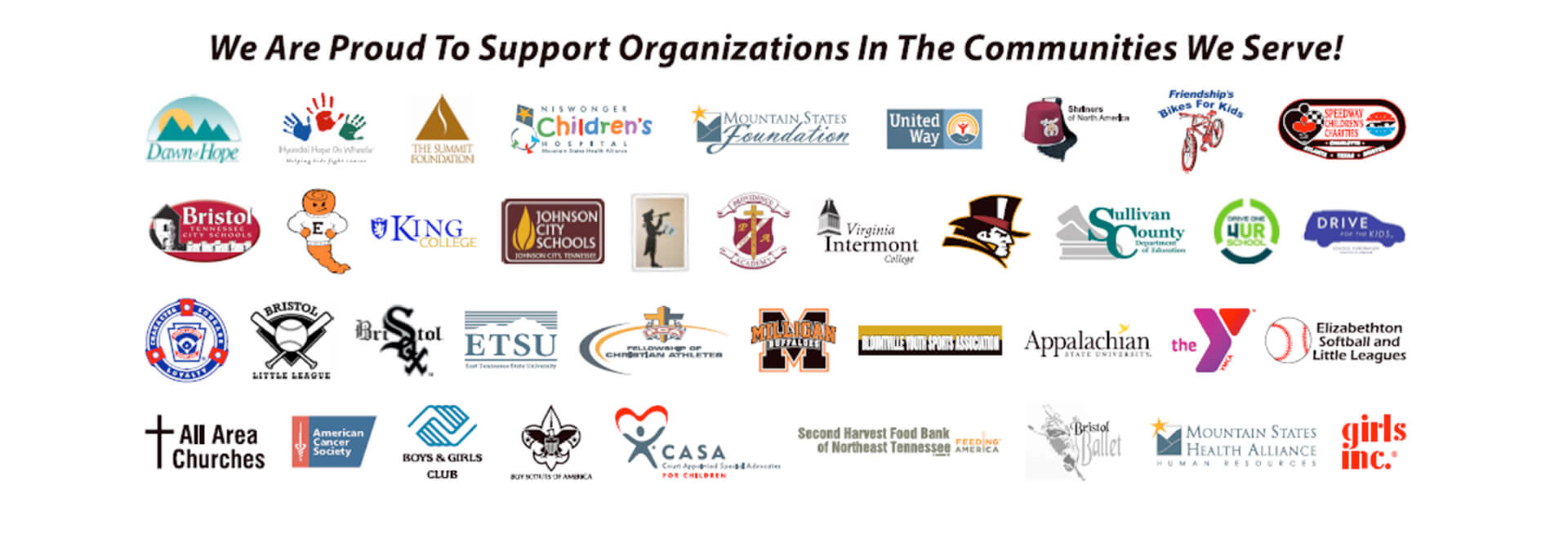 We are proud to support the organizations in the communities we serve!