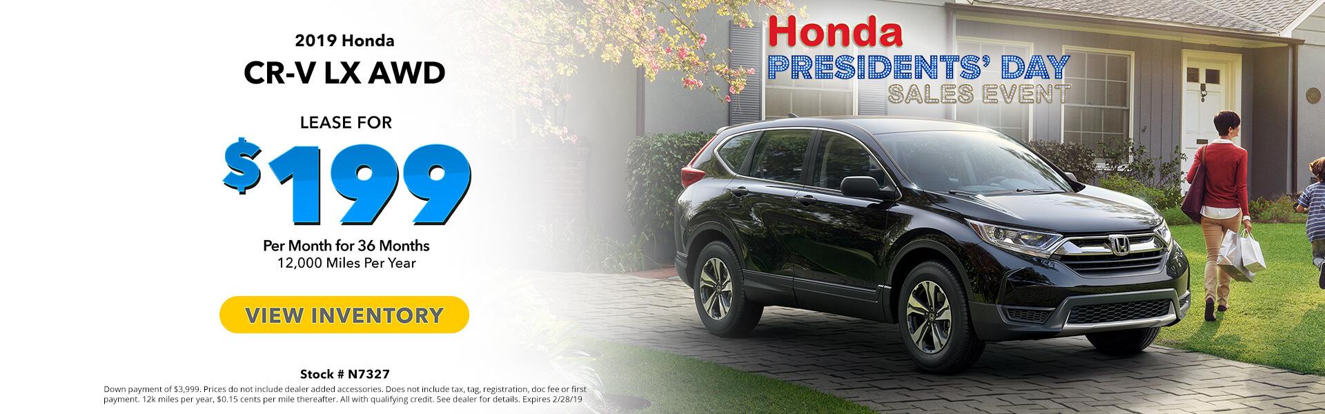 Honda CR- V $199 Lease