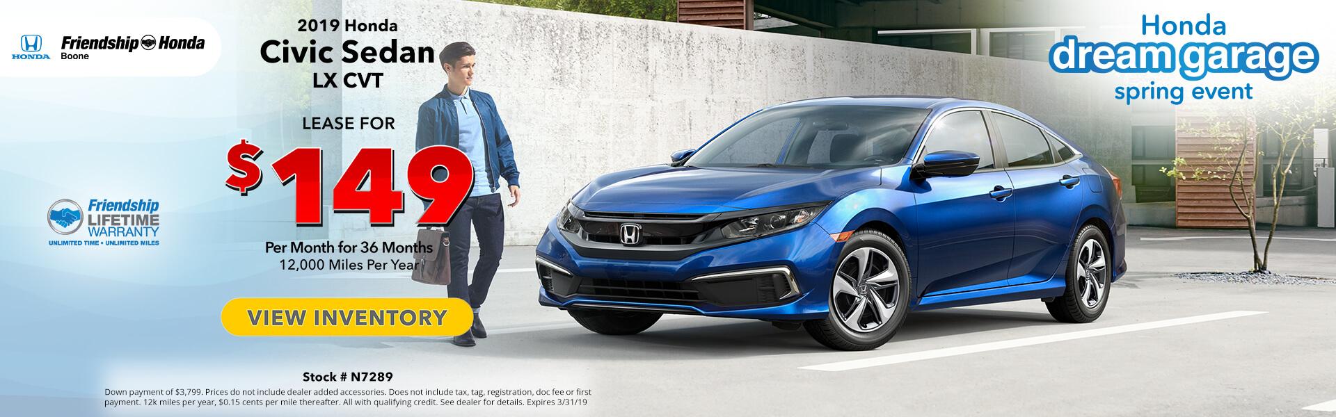 Honda Civic $149 Lease