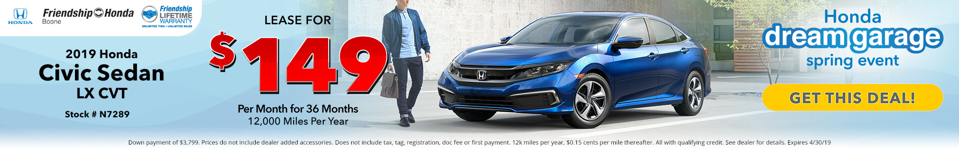 Honda Civic $149 Lease
