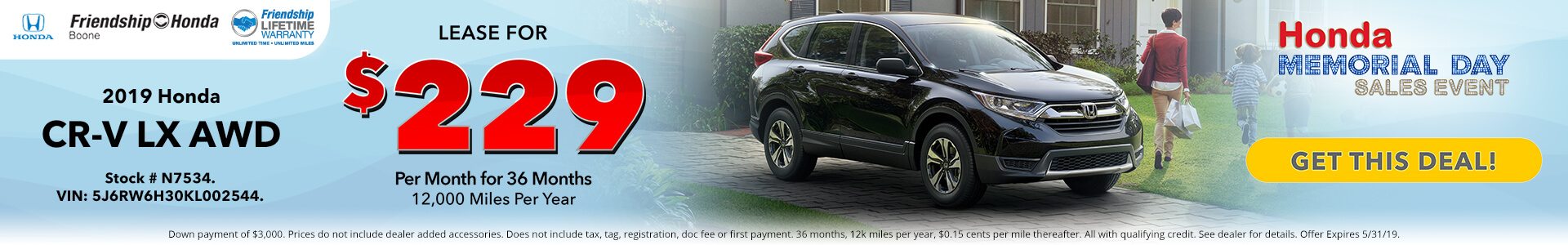 Honda CR-V LX $229 Lease