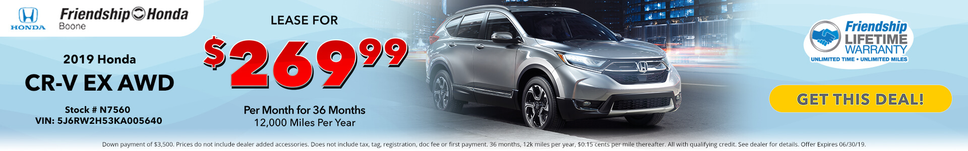 Honda CR-V EX $269.99 Lease