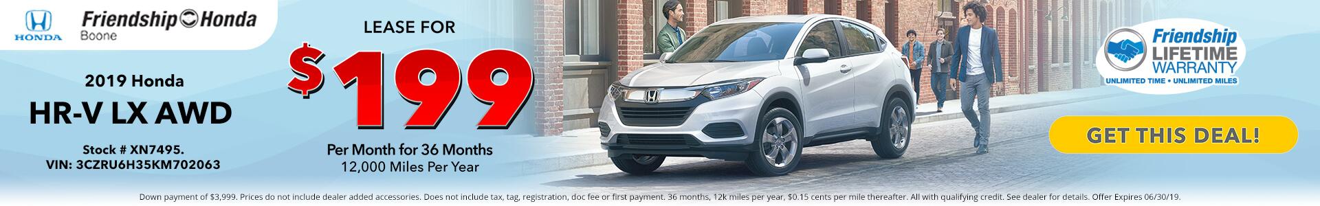 Honda HR-V $169 Lease