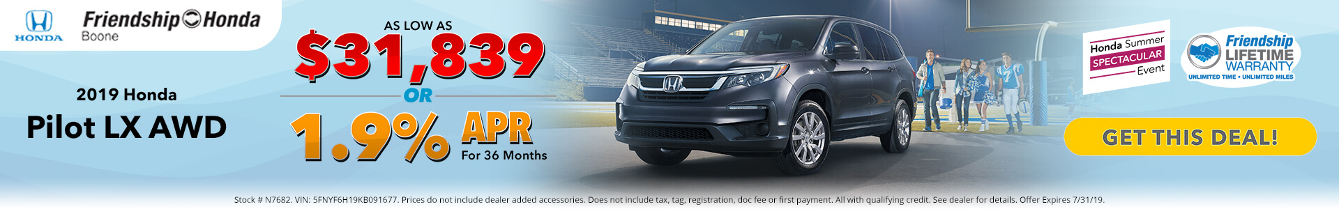 Honda Pilot $31,839 Purchase