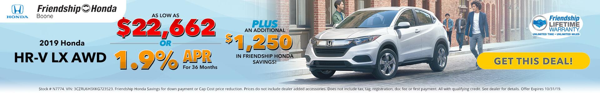 Honda HR-V $22,662 Purchase