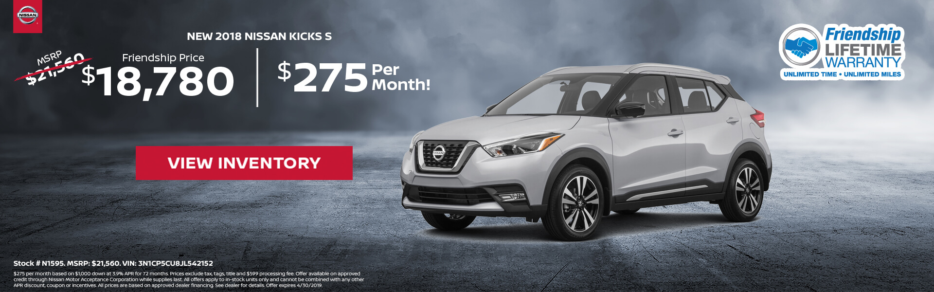 Nissan Kicks $18,780 Purchase