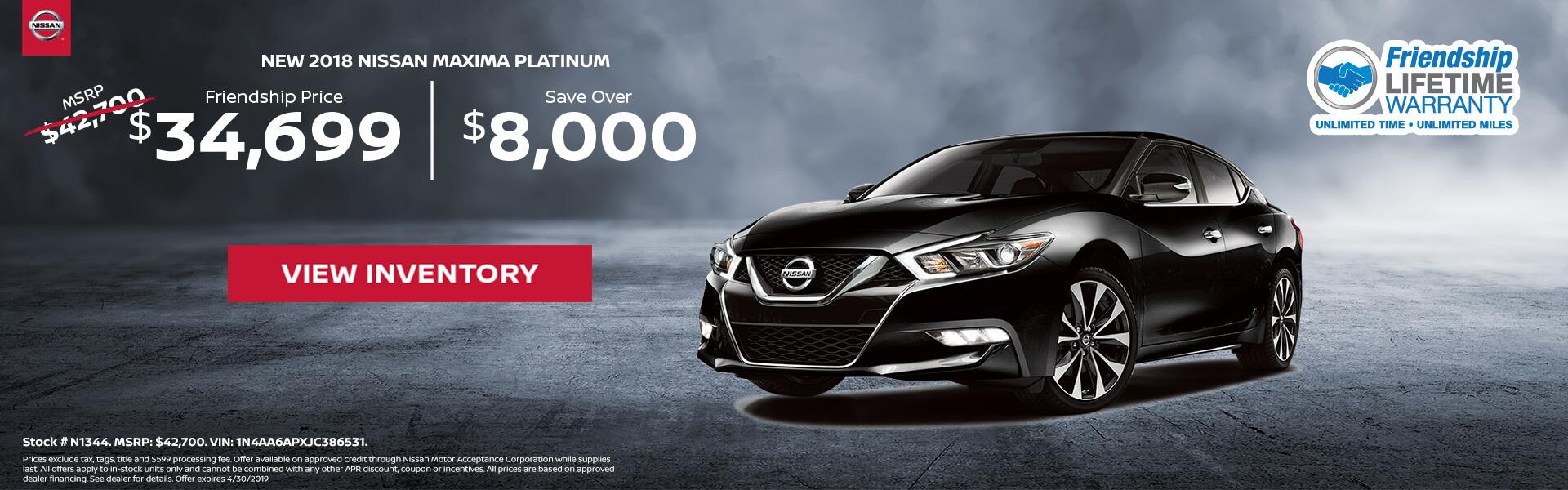 Nissan Maxima $34,699 Purchase