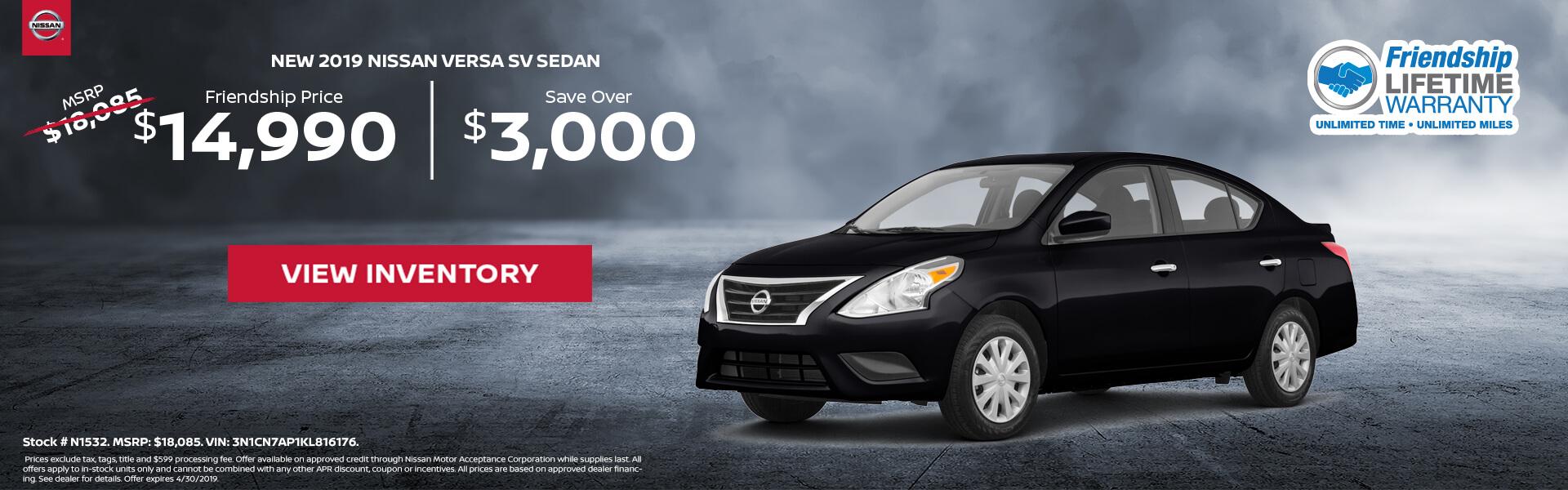Nissan Versa $14,990 Purchase