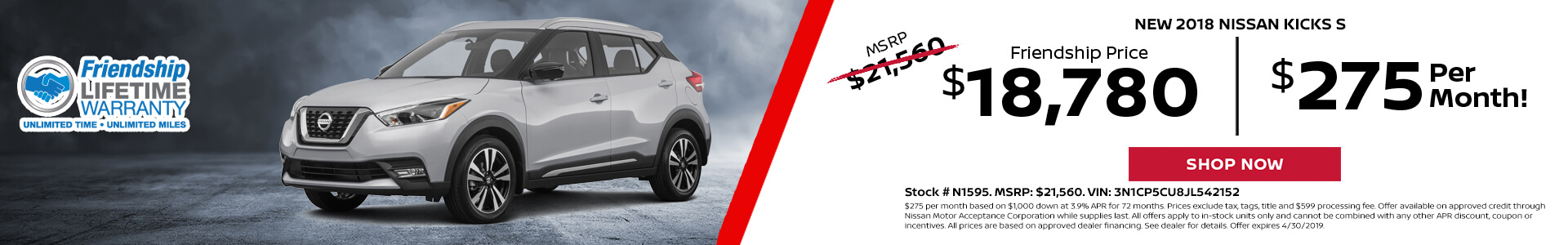 Nissan Kicks $18,780 Purchase