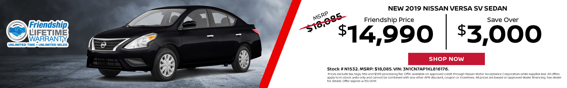 Nissan Versa $14,990 Purchase