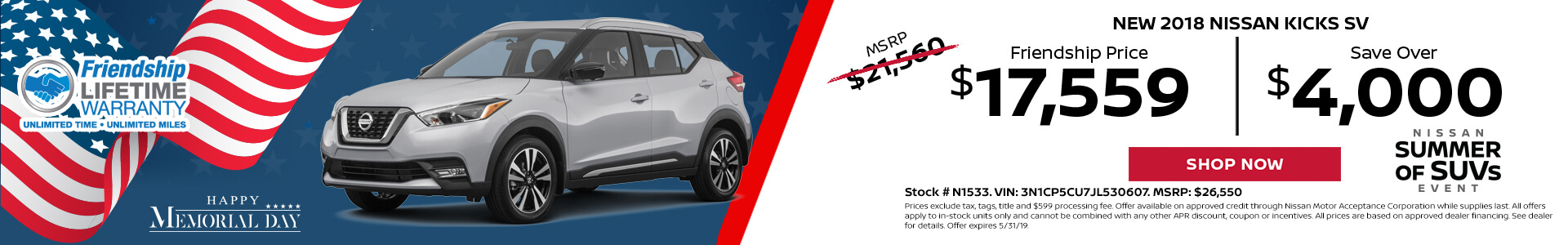 Nissan Kicks $17,559 Purchase