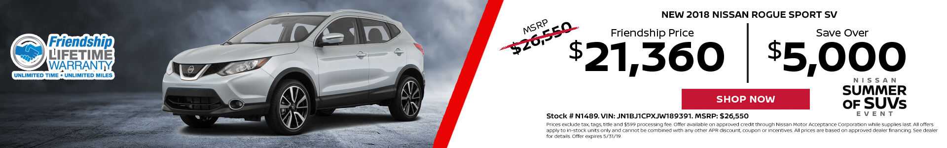 Nissan Rogue Sport $21,729 Purchase