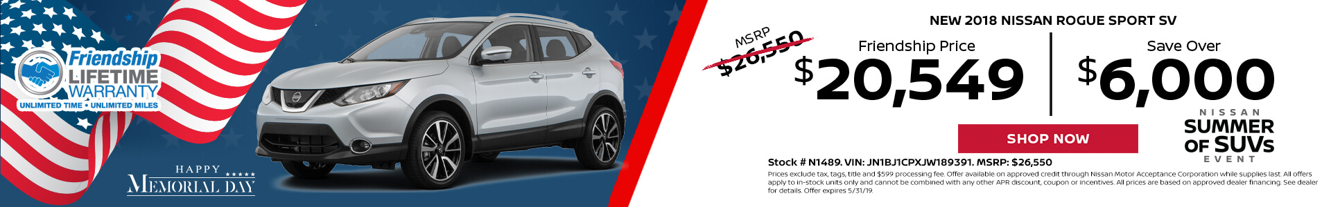 Nissan Rogue Sport $20,549 Purchase
