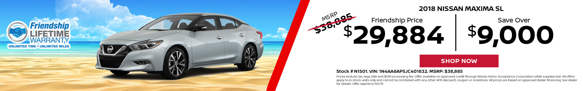 Nissan Maxima $29,884 Purchase
