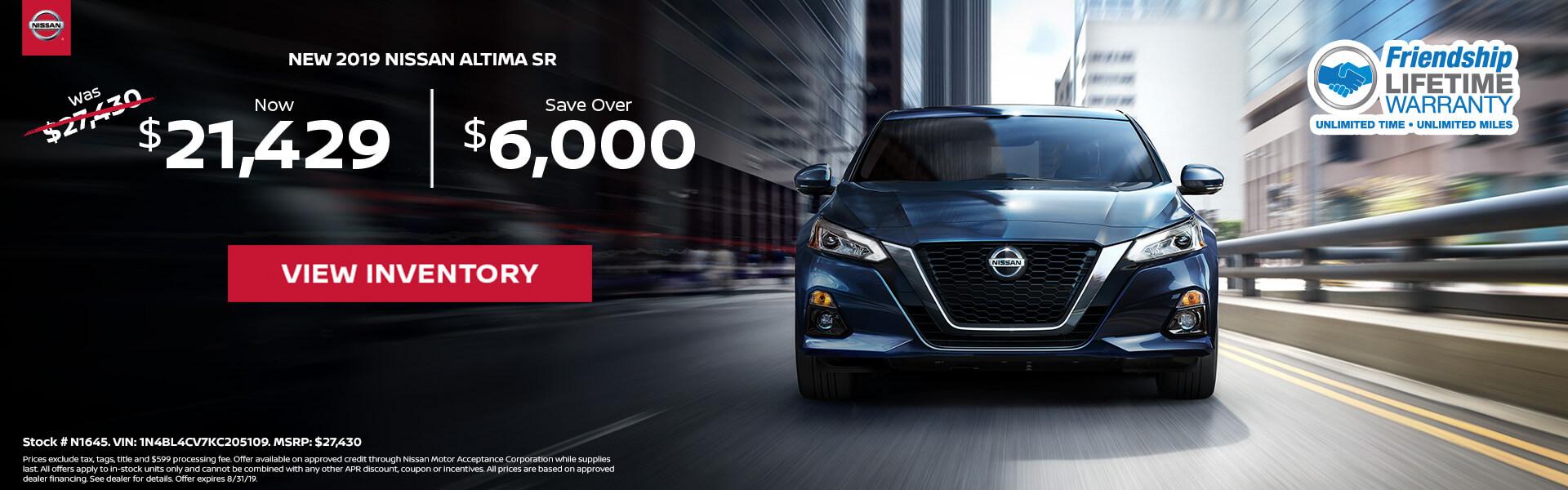 Nissan Altima $21,429 Purchase
