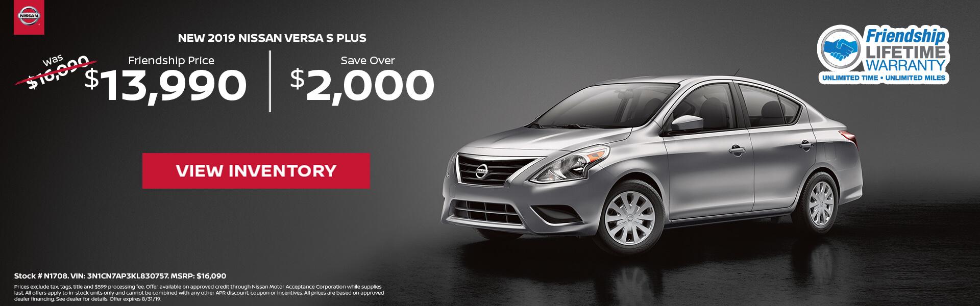 Nissan Versa $13,990 Purchase