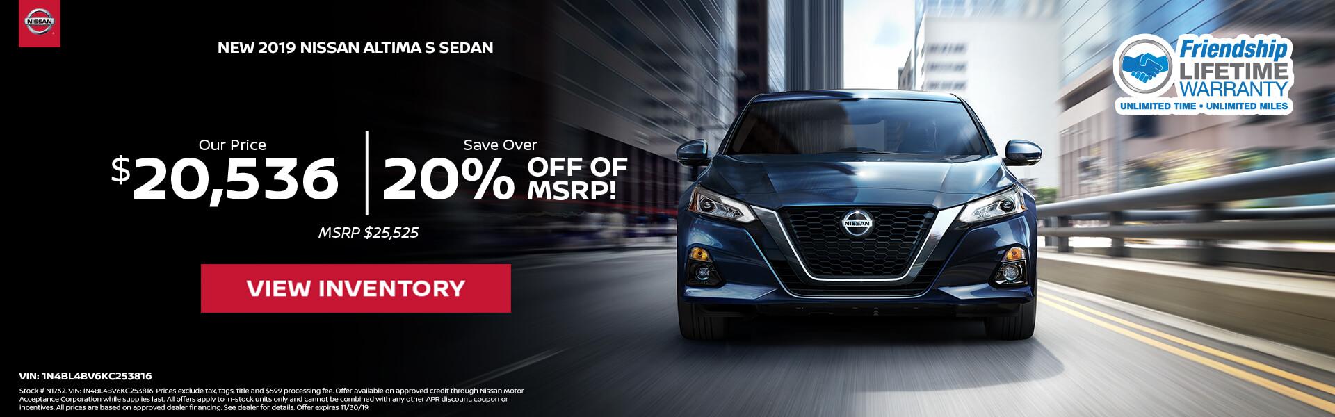 Nissan Altima $20,536 Purchase