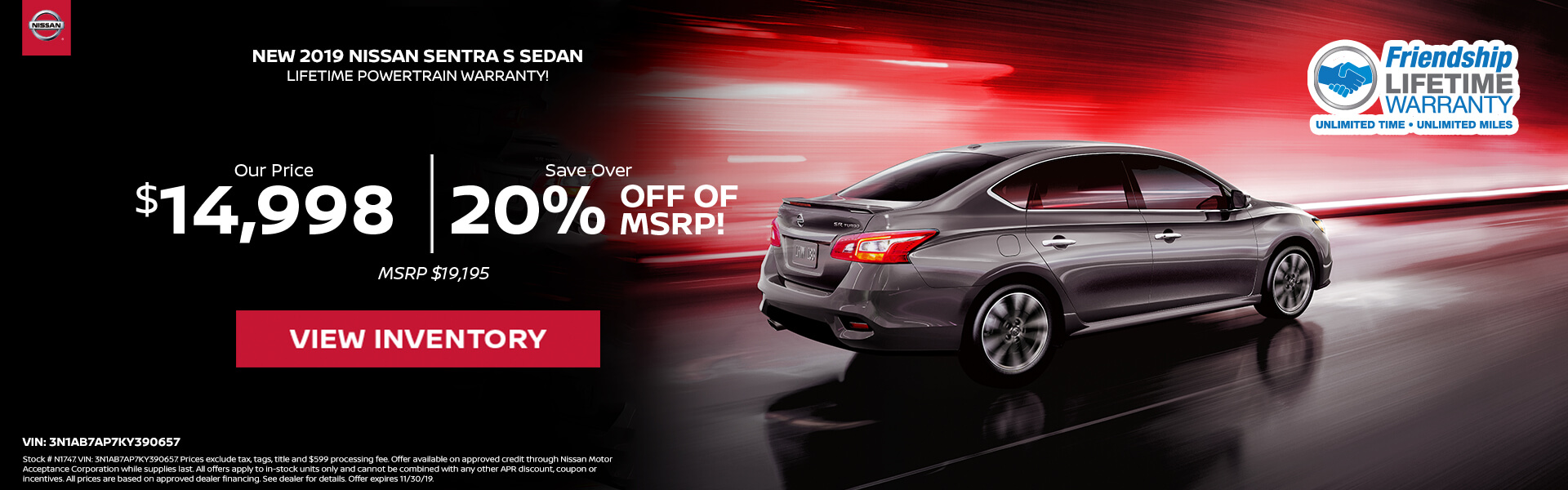 Nissan Sentra $14,998 Purchase