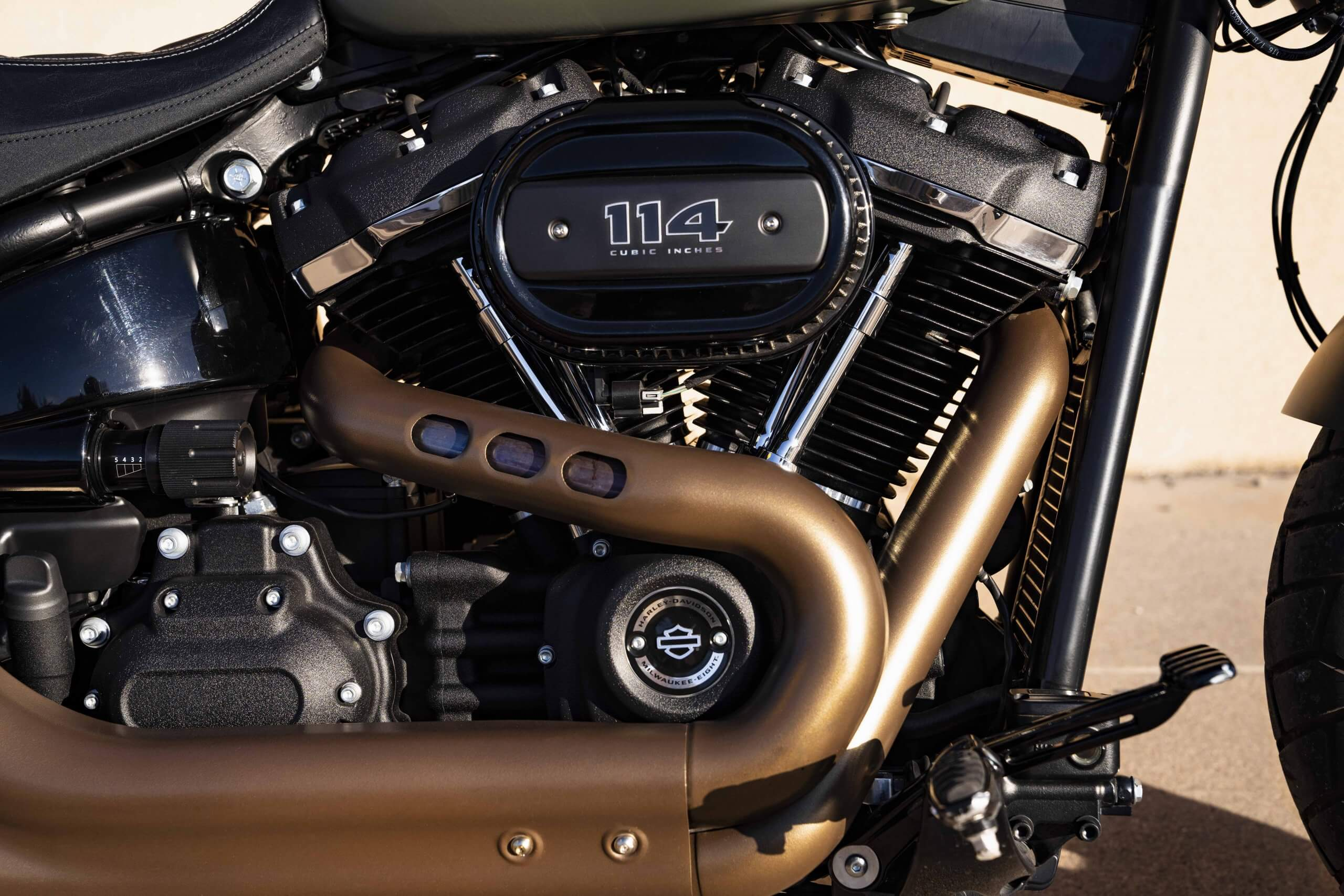 Milwaukee-Eight® 114 V-Twin engine and custom-styled exhaust