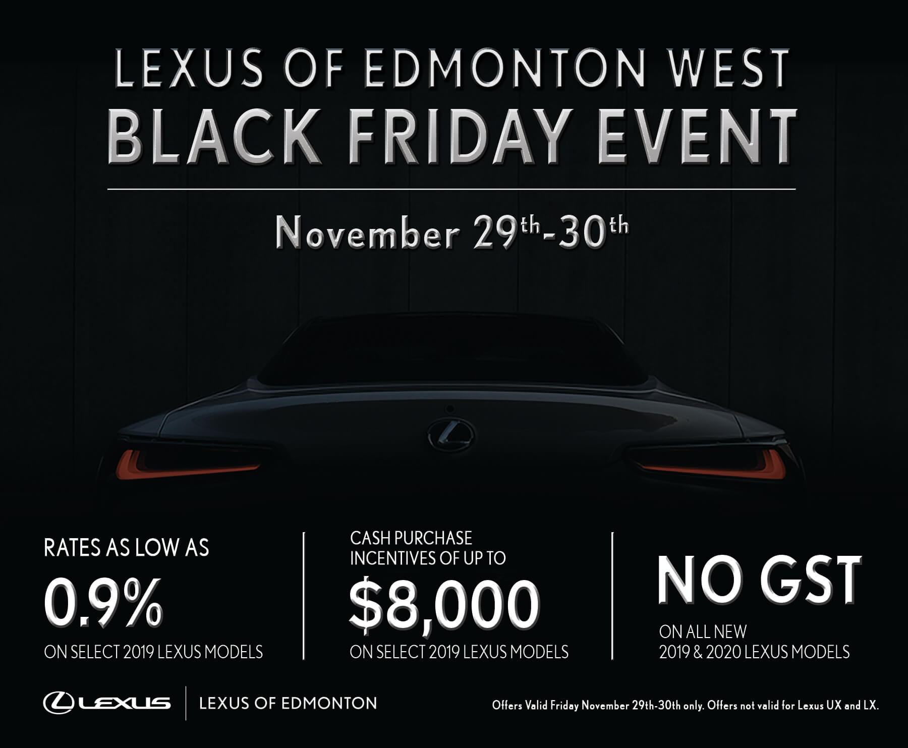Black Friday Event Details at Lexus of Edmonton