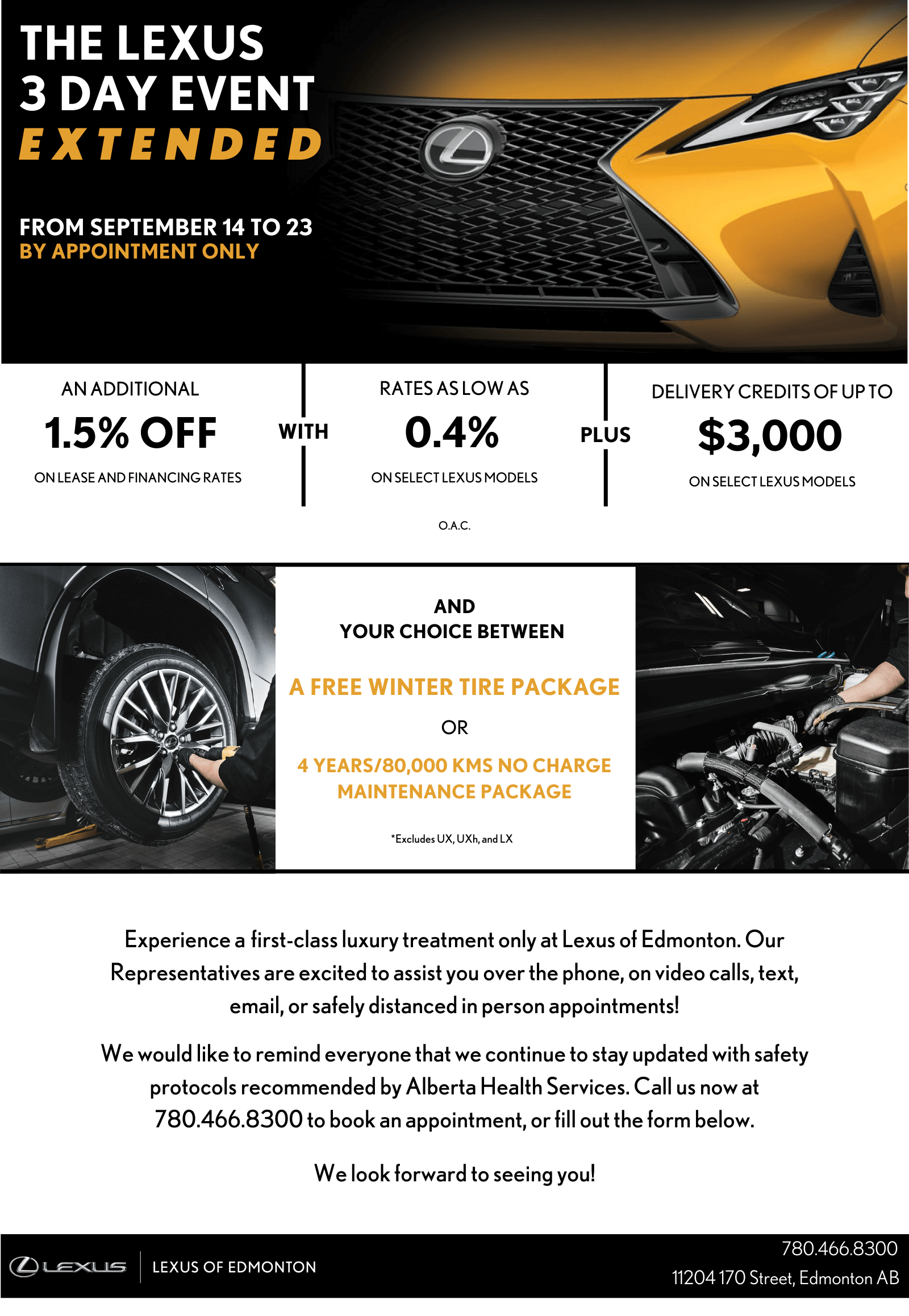 The Lexus 3 Day Event extended From September 14 to 23 By Appointment Only