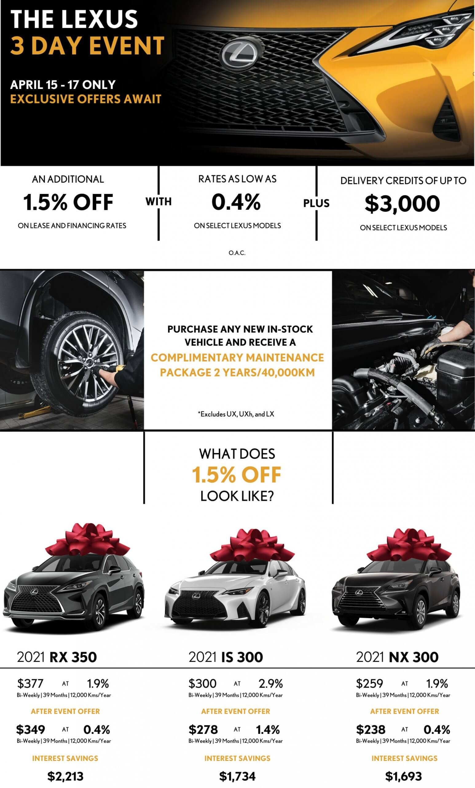 The Lexus 3 Day Event - April 15 to 17 only