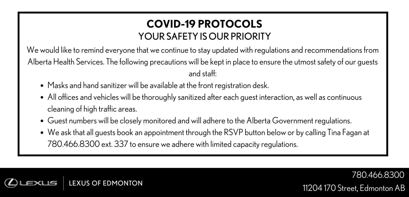COVID-19 PROTOCOLS - YOUR SAFETY IS OUR PRIORITY