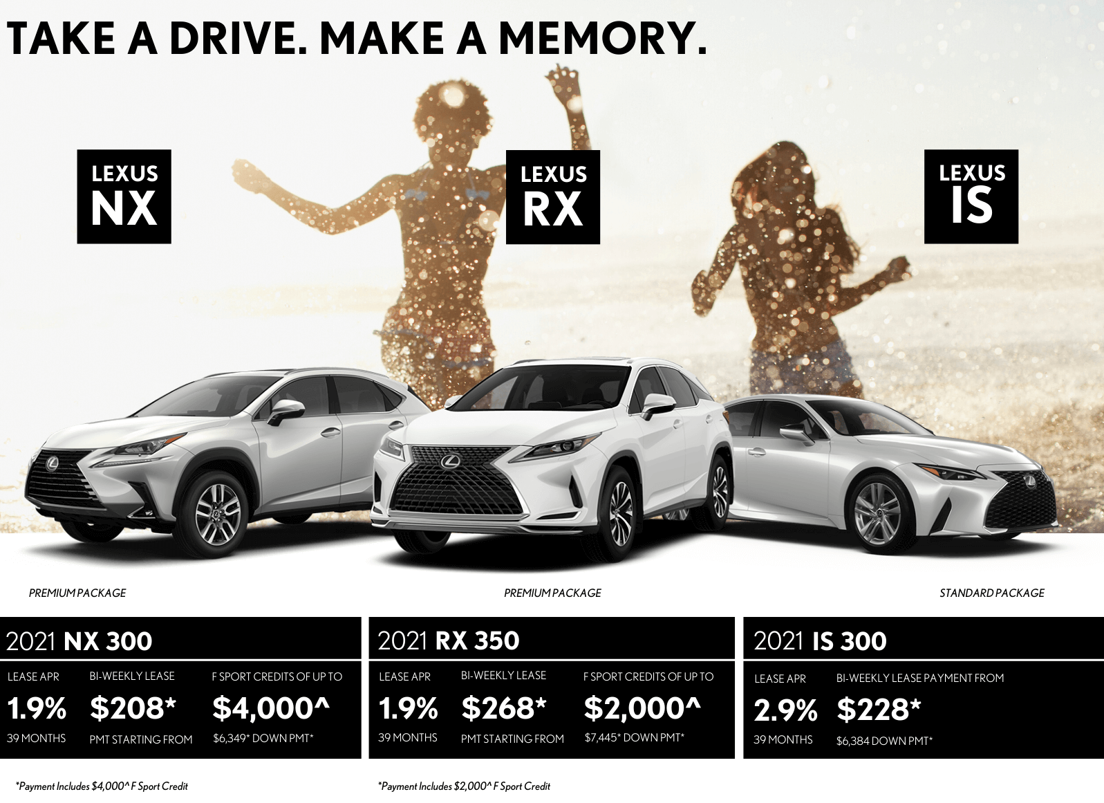 Take a Drive. Make A Memory. Delivery Credit Of Up to $4,000 On Select Lexus Models