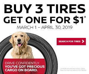 BUY 3 TIRES GET THE 4TH FOR $1.00! ON SELECT TIRES ONLY. (EXPIRED)