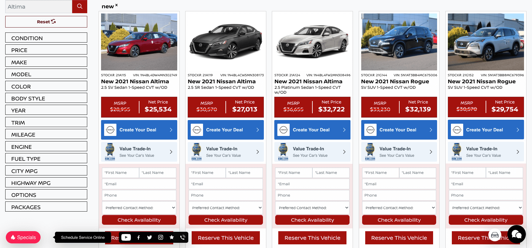 Inventory Search Results