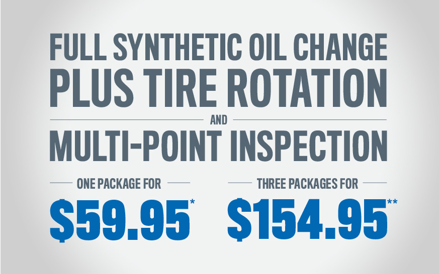 full synthetic oil change plus tire rotation