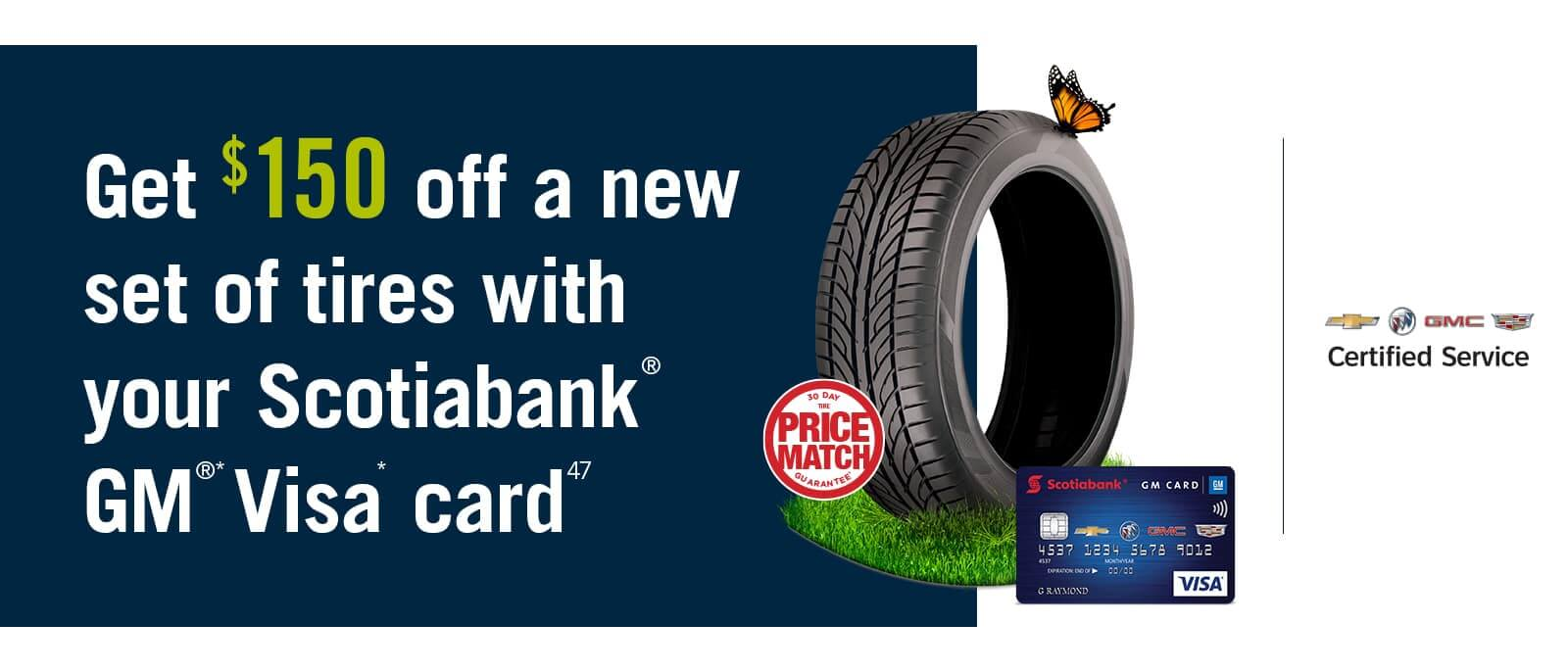 Save $150 off a new set of tires banner