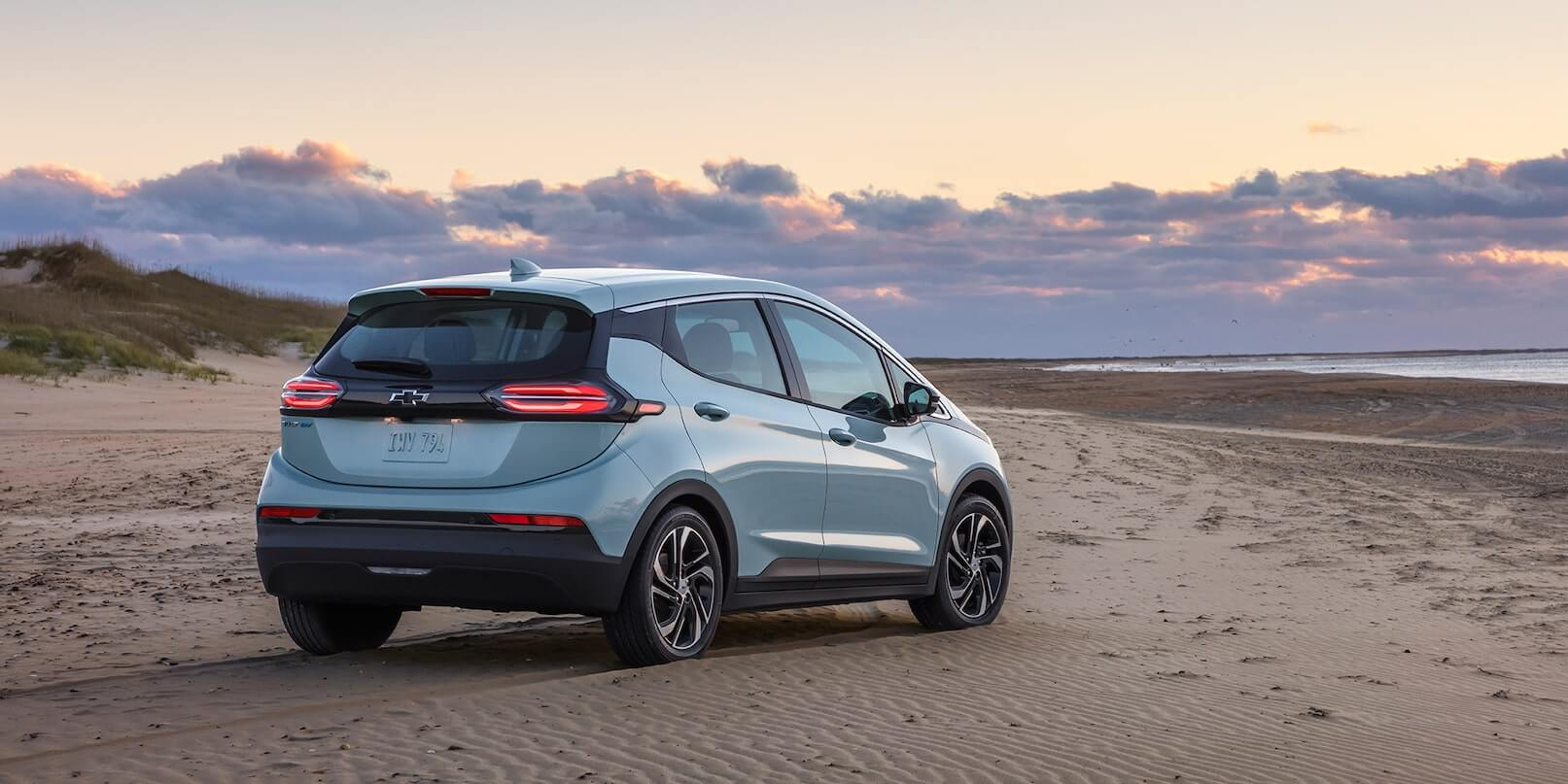 Right-rear exterior view of a parked 2022 Chevrolet Bolt EV.