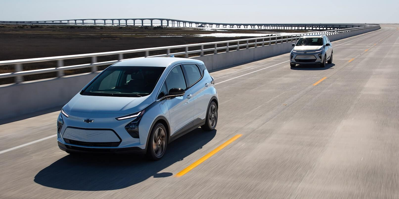 2022 Chevrolet Bolt EV driving on a high-way.