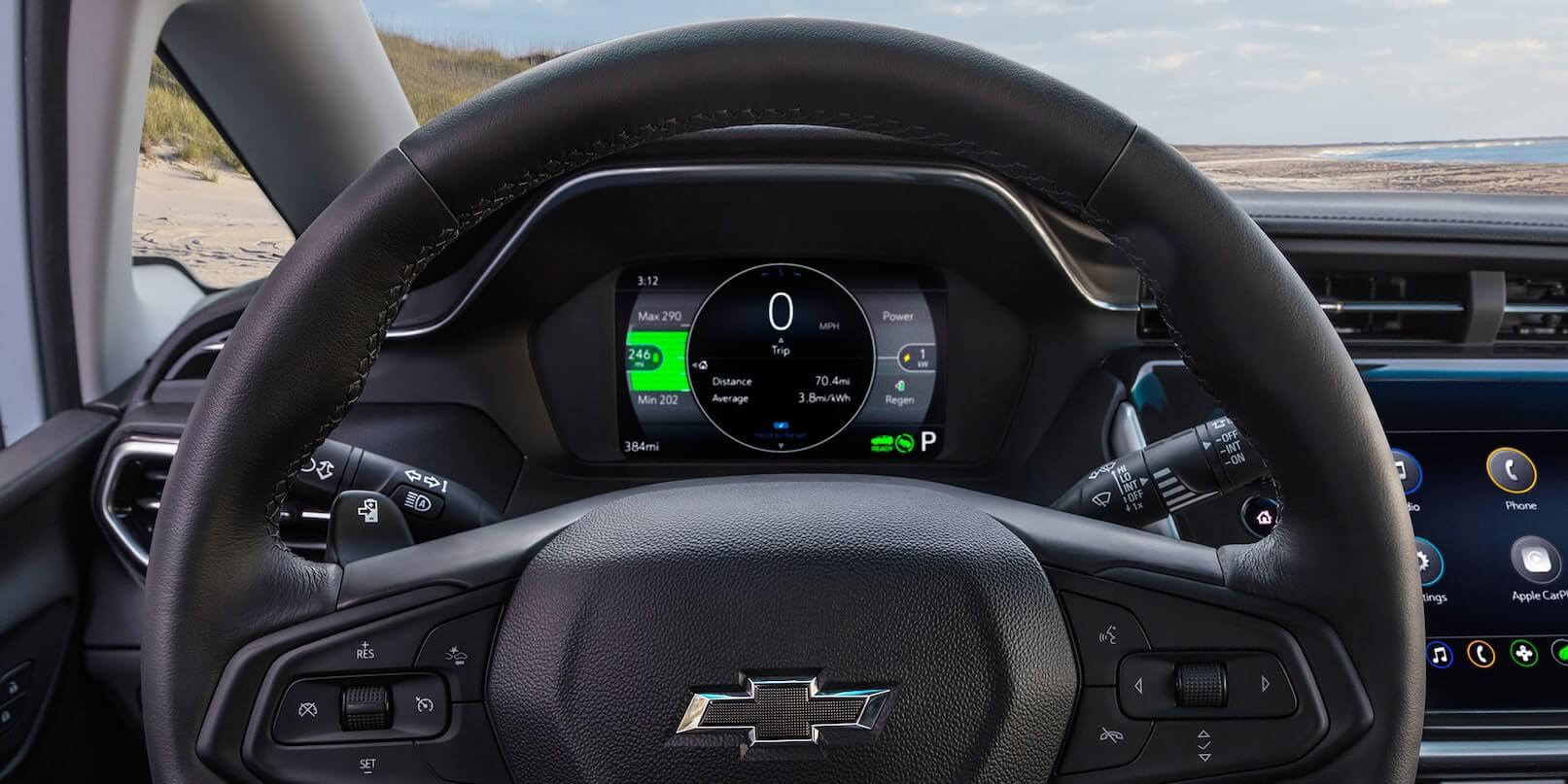2022 Bolt EV steering wheel and dashboard.