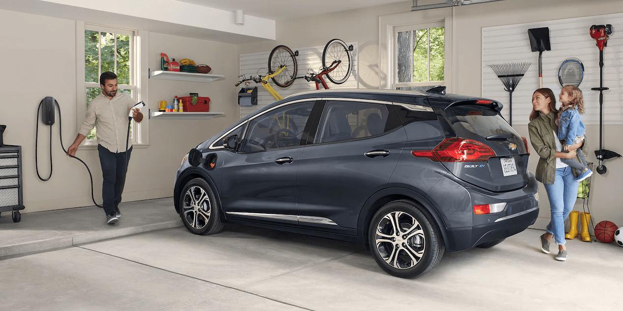 2021 Bolt EV Electric Car Exterior Photo: Garage Charging Station.